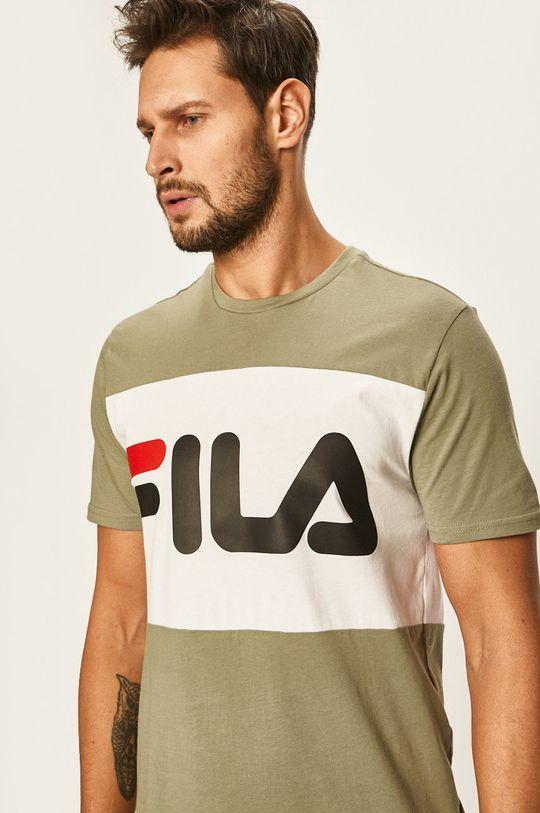 hnedozelená Fila - Pánske tričko Pánsky