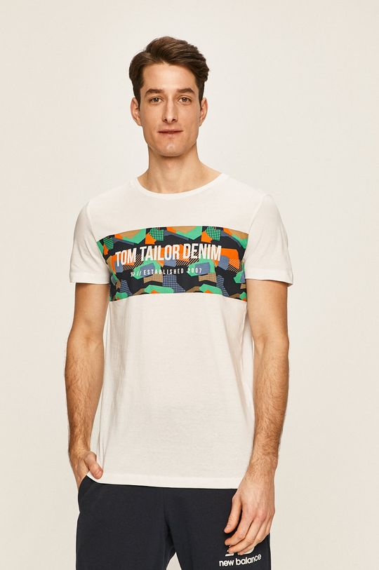 biela Tom Tailor Denim - Pánske tričko Pánsky