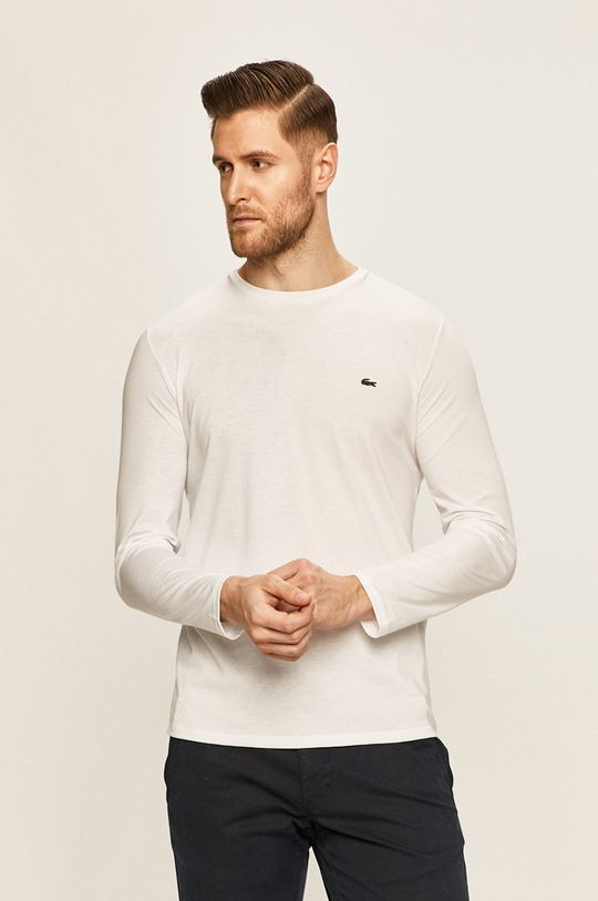 biela Lacoste - Pánske tričko s dlhým rukávom Pánsky