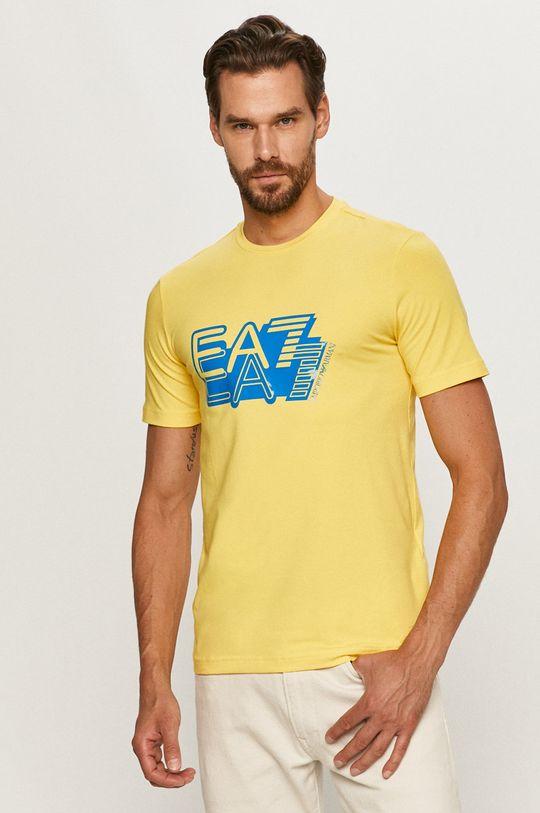 żółty EA7 Emporio Armani - T-shirt Męski