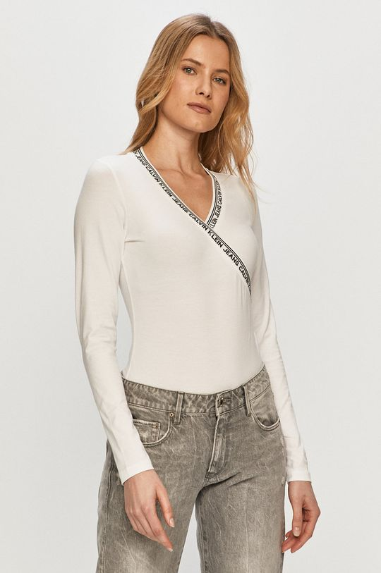 bílá Calvin Klein Jeans - Tričko s dlouhým rukávem Dámský