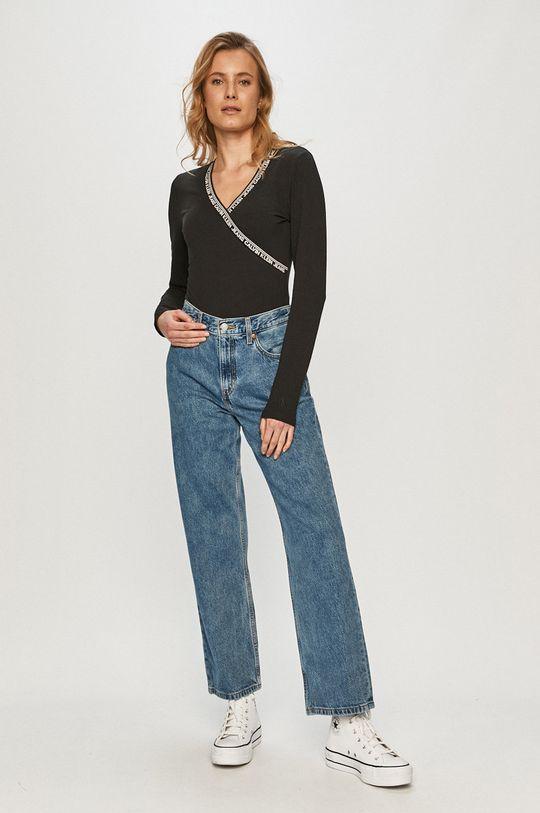 Calvin Klein Jeans - Tričko s dlhým rukávom čierna