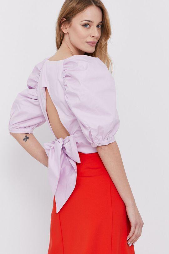 lawendowy Bardot - Bluzka bawełniana Damski
