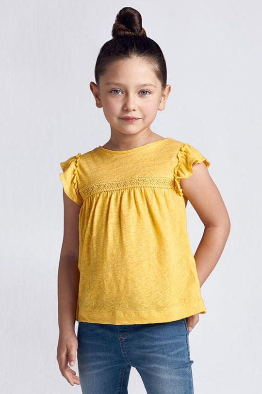 musztardowy Mayoral - Bluzka dziecięca Dziewczęcy