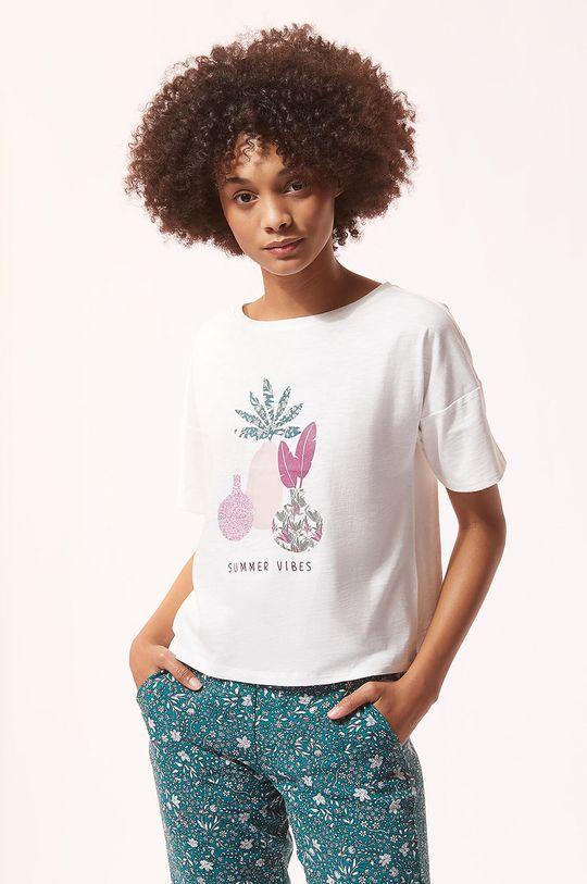 kremowy Etam - T-shirt piżamowy ABEL