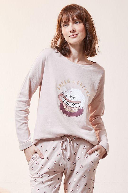 czerwony róż Etam - Longsleeve piżamowy Fino Damski