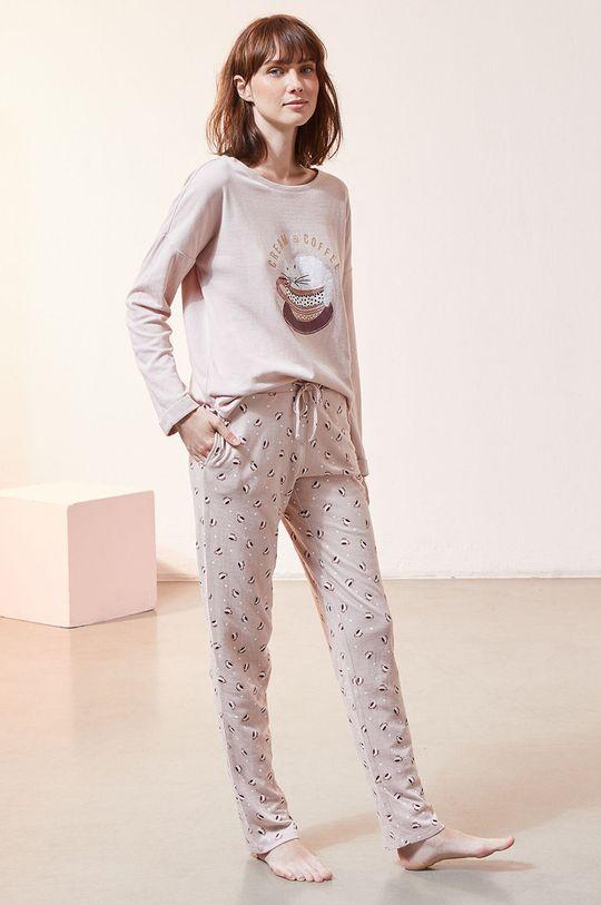 Etam - Longsleeve piżamowy Fino czerwony róż