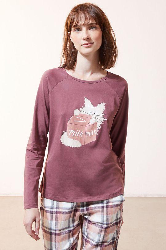 purpurový Etam - Pyžamové tričko s dlhým rukávom Fleur Dámsky