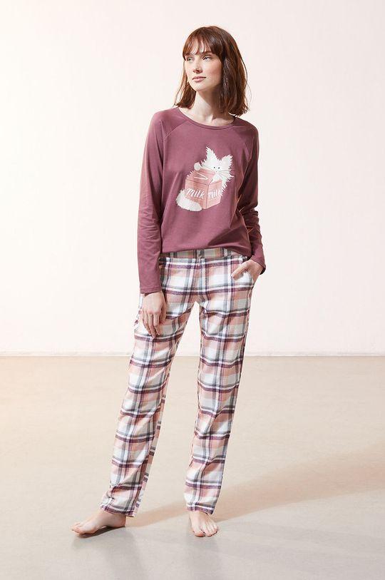 Etam - Pyžamové tričko s dlhým rukávom Fleur purpurový