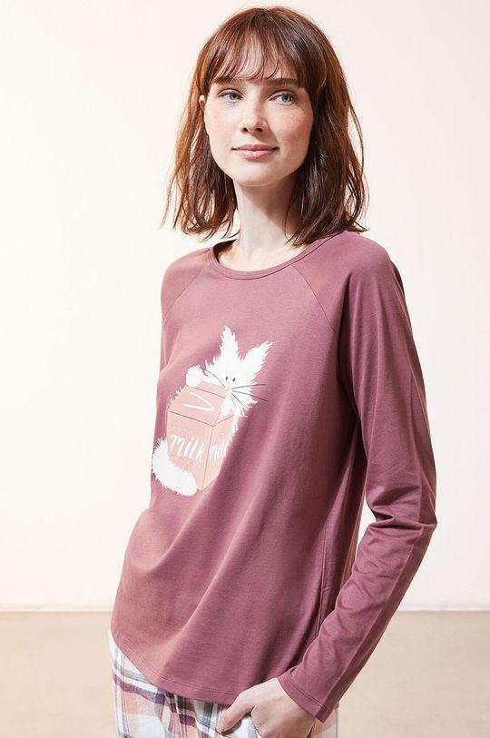 purpurový Etam - Pyžamové tričko s dlhým rukávom Fleur