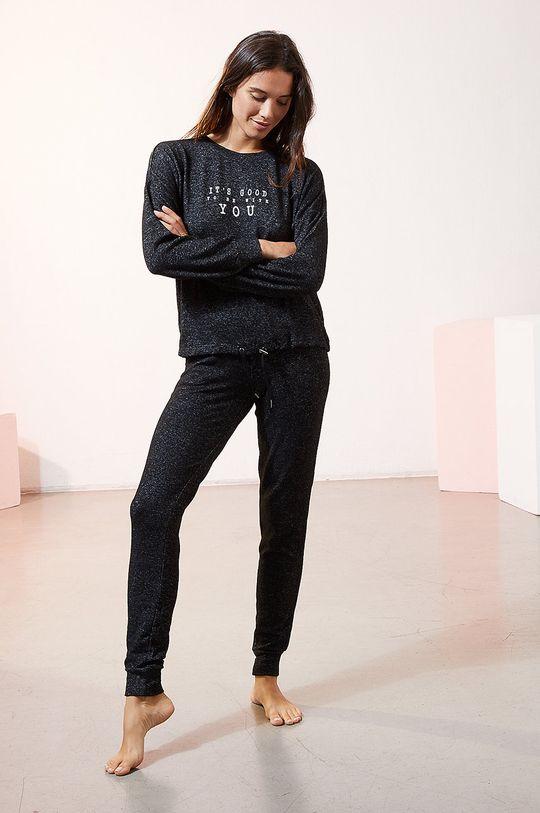 Etam - Pyžamové tričko s dlouhým rukávem LANCE černá