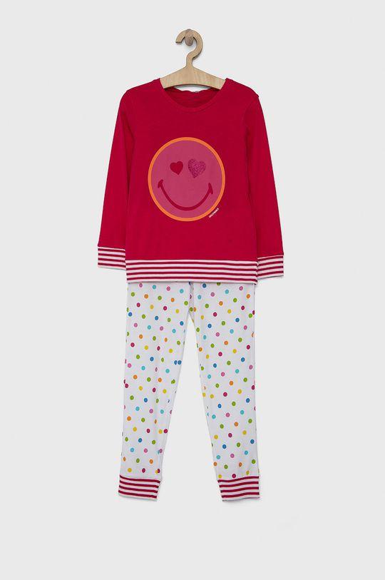 ostrá růžová United Colors of Benetton - Dětské pyžamo x Smiley World Dívčí