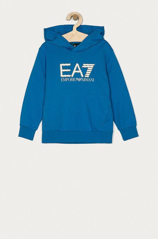 modrá EA7 Emporio Armani - Dětská bavlněná mikina 104-164 cm Chlapecký
