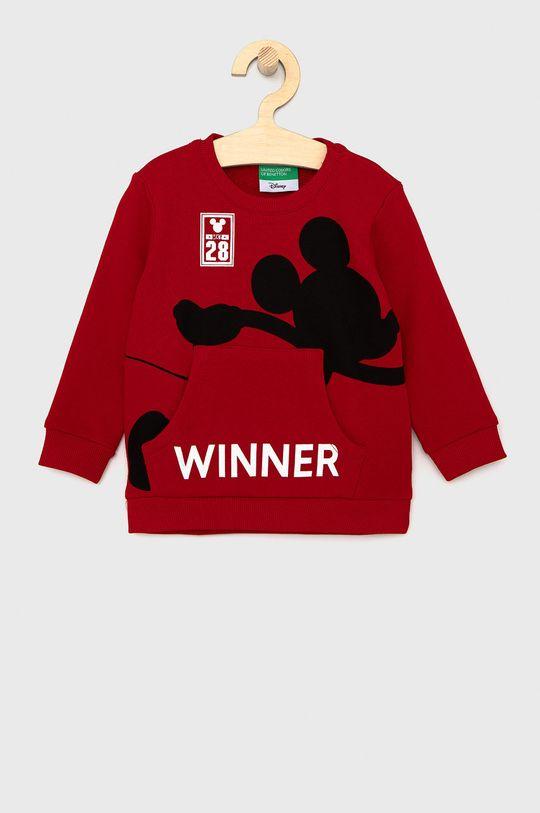 červená United Colors of Benetton - Dětská bavlněná mikina X Disney Chlapecký