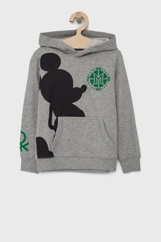 jasny szary United Colors of Benetton - Bluza bawełniana dziecięca x Disney Chłopięcy