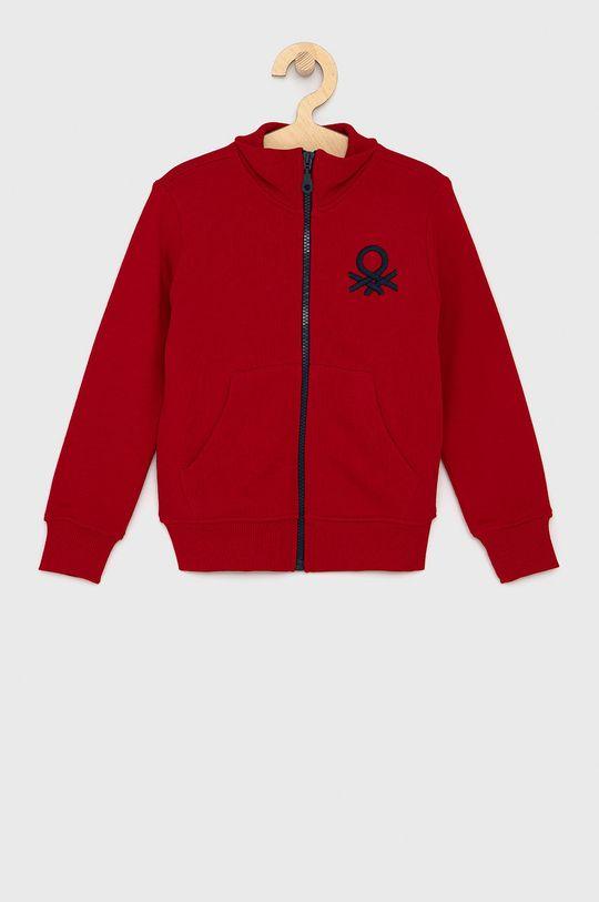 červená United Colors of Benetton - Dětská bavlněná mikina Chlapecký