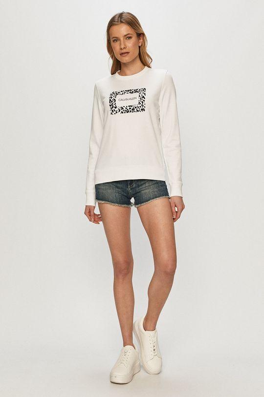 Calvin Klein - Bavlnená mikina biela
