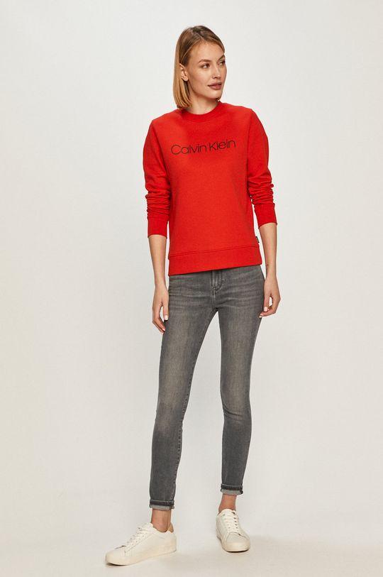 Calvin Klein - Bluza bawełniana czerwony