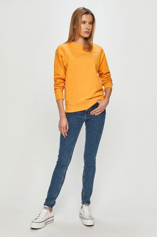 Levi's - Bavlnená mikina oranžová
