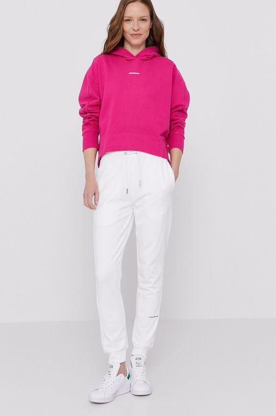 Calvin Klein Jeans - Mikina ostrá růžová