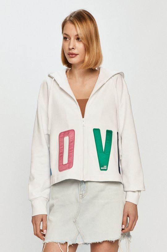 bílá Love Moschino - Bavlněná mikina Dámský