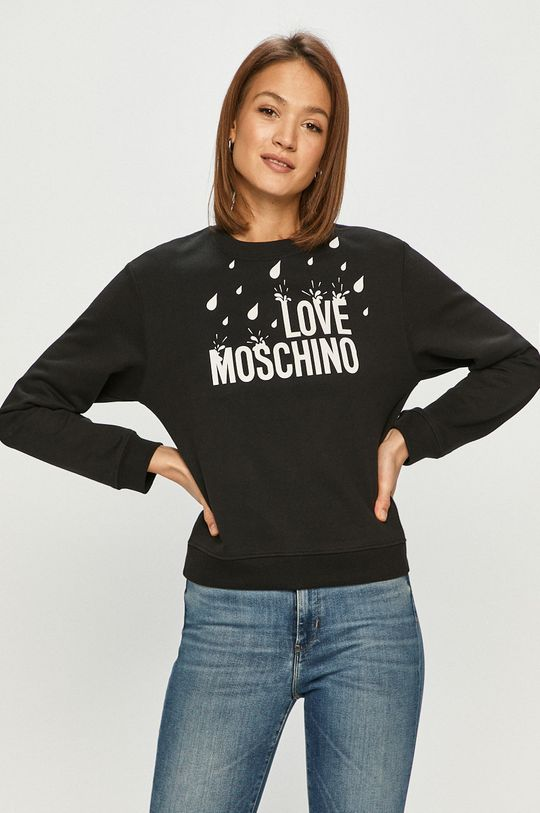 čierna Love Moschino - Bavlnená mikina Dámsky