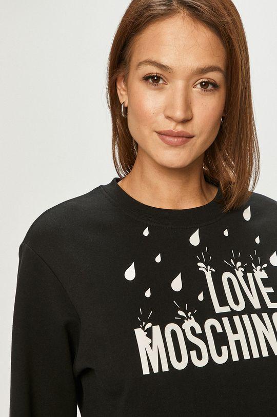 čierna Love Moschino - Bavlnená mikina