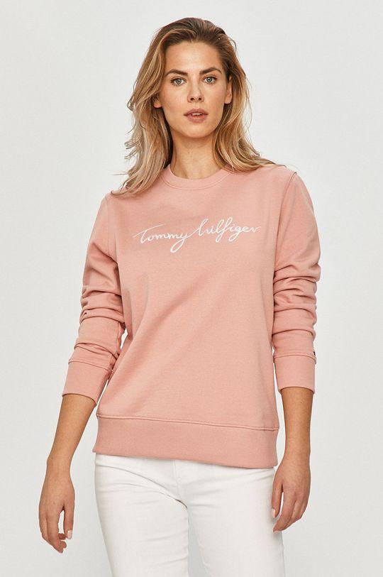 Tommy Hilfiger - Bavlnená mikina ružová