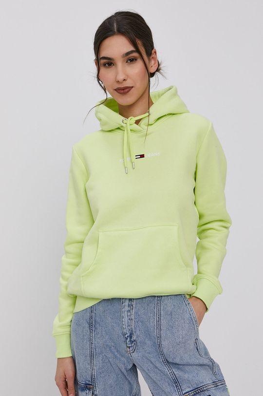 Tommy Jeans - Mikina žlutě zelená