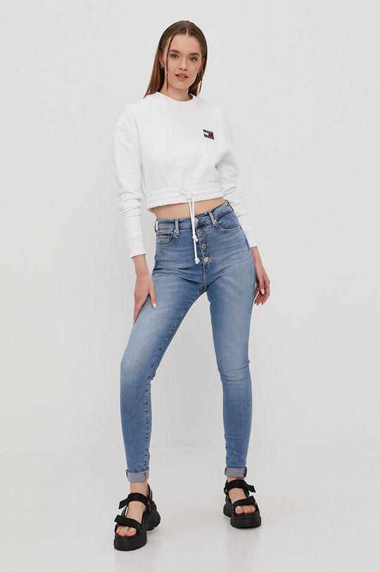 Tommy Jeans - Bavlnená mikina biela