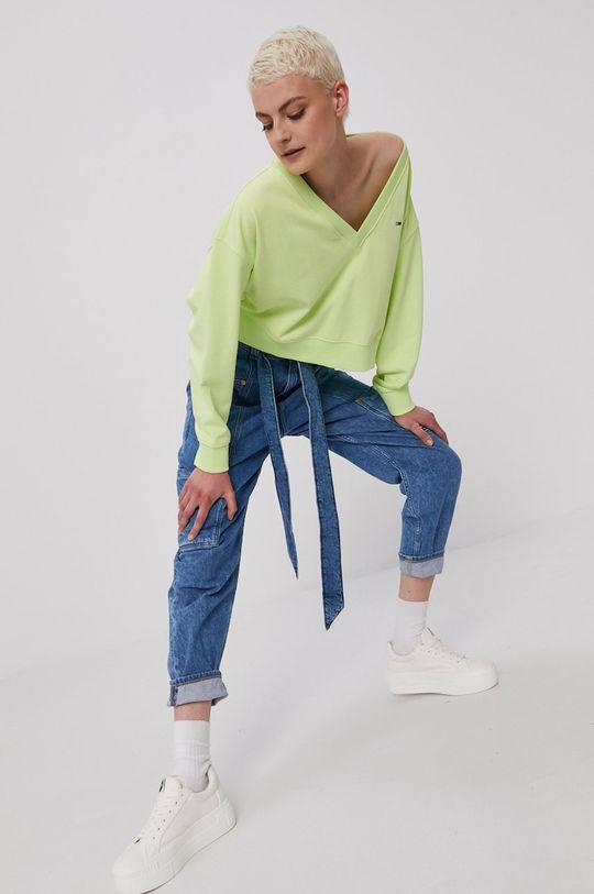 żółto - zielony Tommy Jeans - Bluza Damski