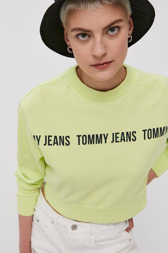 żółto - zielony Tommy Jeans - Bluza bawełniana Damski