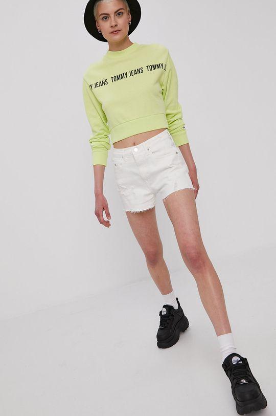 Tommy Jeans - Bluza bawełniana żółto - zielony