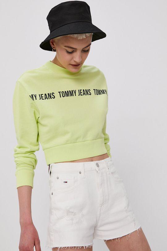 żółto - zielony Tommy Jeans - Bluza bawełniana