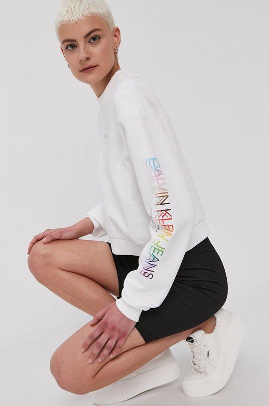 biały Calvin Klein Jeans - Bluza bawełniana Damski