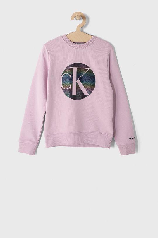 różowy Calvin Klein Jeans - Bluza bawełniana dziecięca 104-176 cm Dziewczęcy