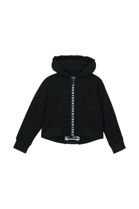 czarny Dkny - Bluza bawełniana dziecięca 126-150 cm Dziewczęcy
