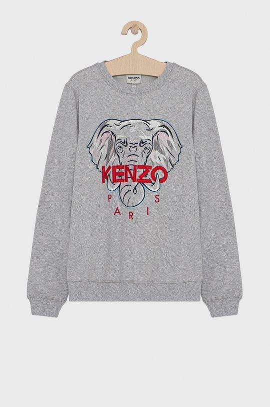 szary KENZO KIDS - Bluza bawełniana dziecięca 164 cm Dziewczęcy