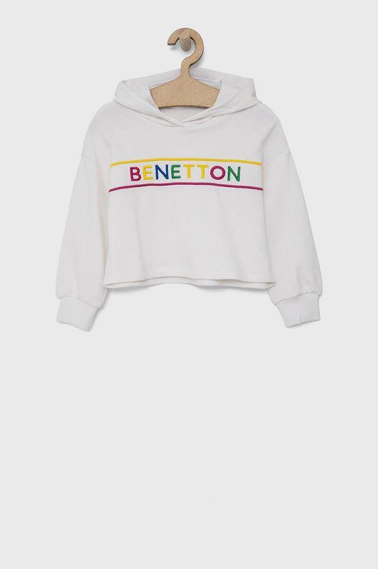 bílá United Colors of Benetton - Dětská bavlněná mikina Dívčí