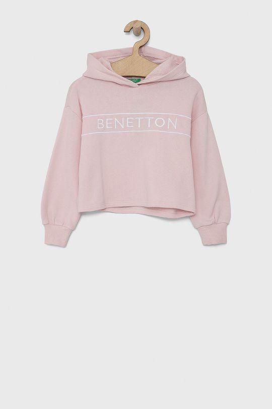 pastelowy różowy United Colors of Benetton - Bluza bawełniana dziecięca Dziewczęcy