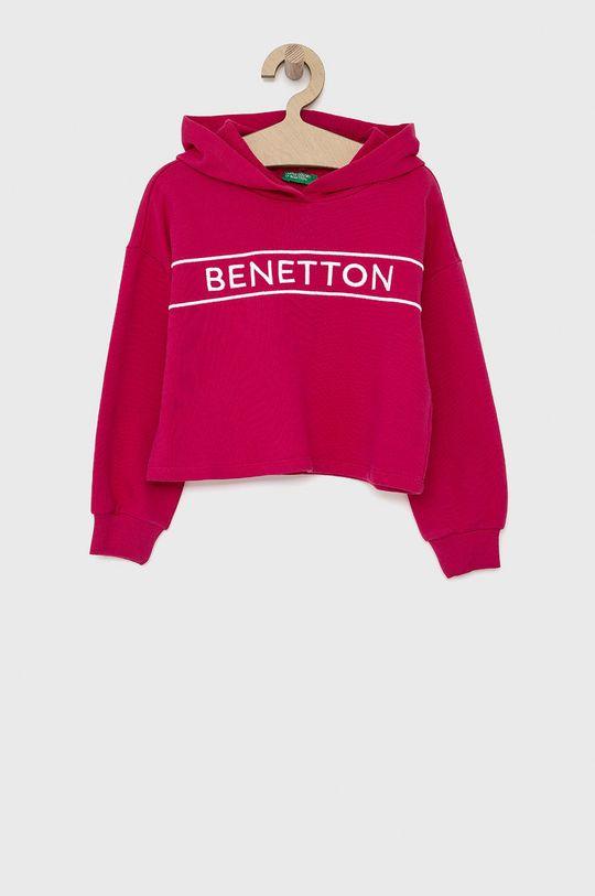 fuchsiová United Colors of Benetton - Dětská bavlněná mikina Dívčí