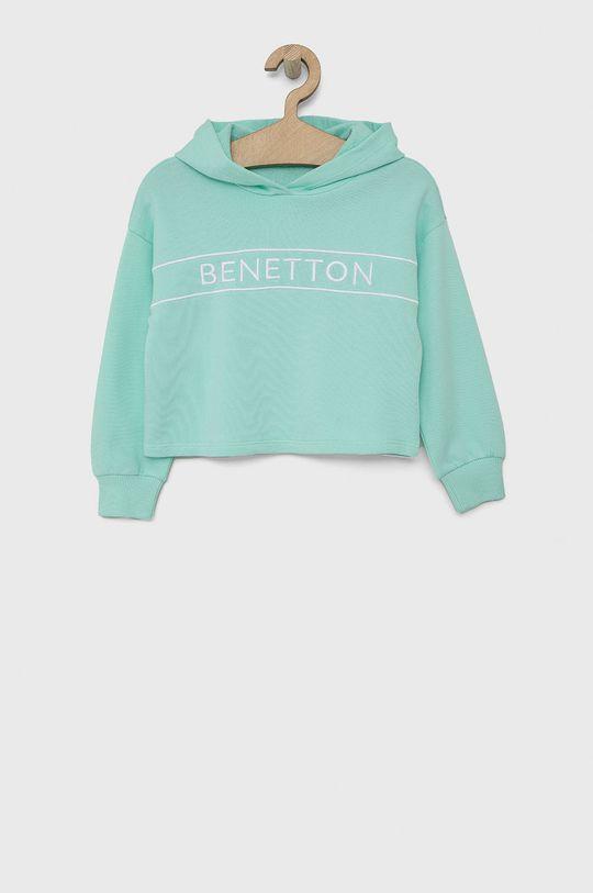 turkusowy United Colors of Benetton - Bluza bawełniana dziecięca Dziewczęcy