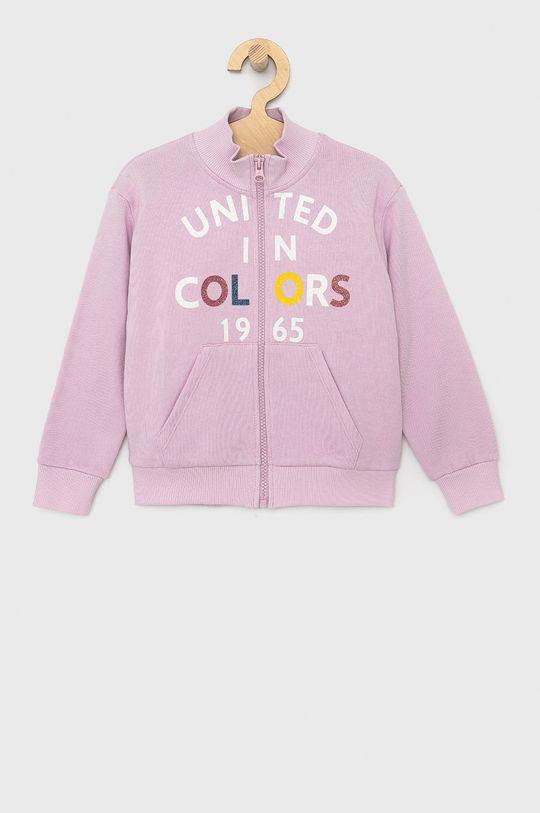 lawendowy United Colors of Benetton - Bluza bawełniana dziecięca Dziewczęcy