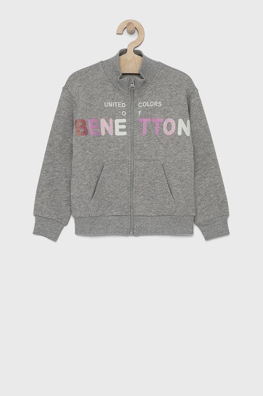 světle šedá United Colors of Benetton - Dětská bavlněná mikina Dívčí
