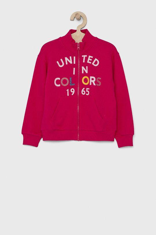fuksja United Colors of Benetton - Bluza bawełniana dziecięca Dziewczęcy