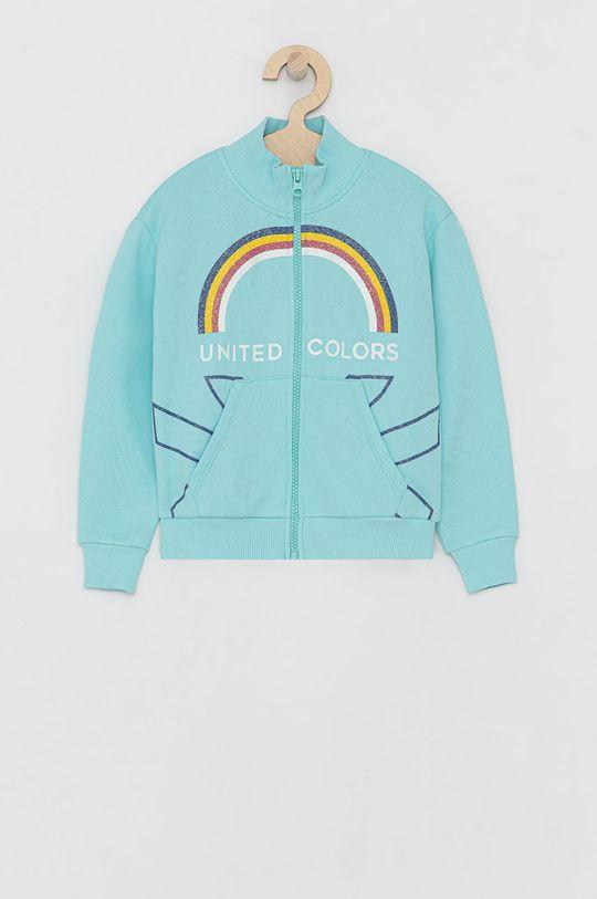 tyrkysová United Colors of Benetton - Dětská bavlněná mikina Dívčí