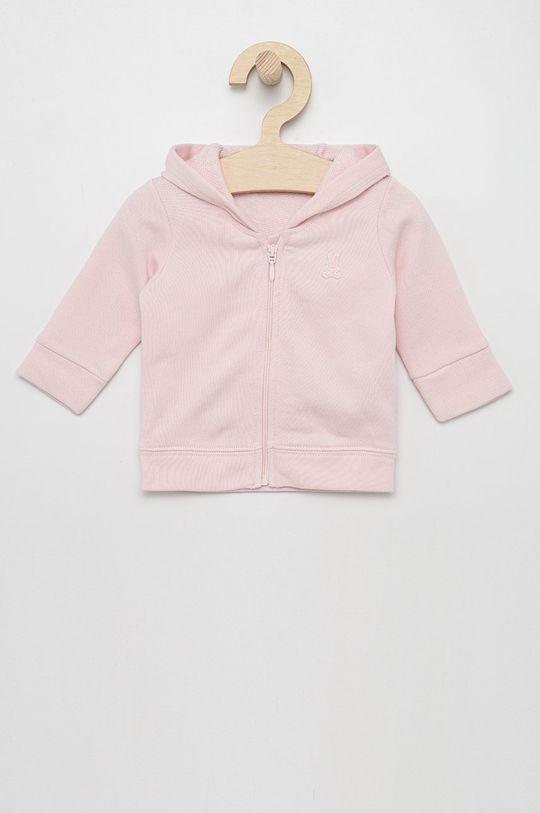 pastelově růžová United Colors of Benetton - Dětská bavlněná mikina Dívčí