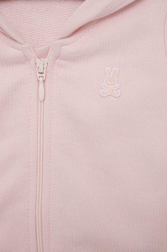 United Colors of Benetton - Dětská bavlněná mikina pastelově růžová