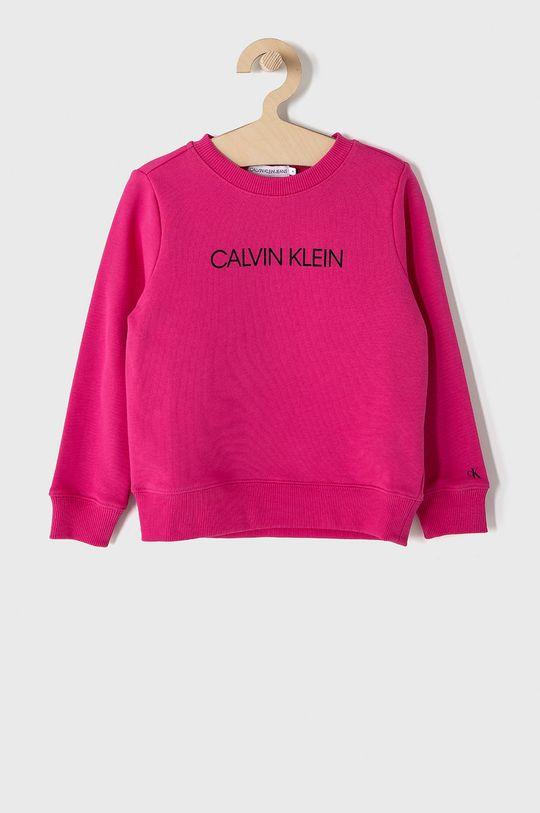ostrá růžová Calvin Klein Jeans - Dětská bavlněná mikina 104-176 cm. Dětský