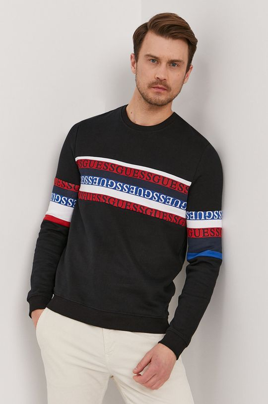 czarny Guess - Bluza bawełniana Męski